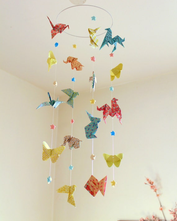 Origami Mobile Baby Animals And Stars Pastel Colors