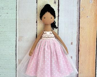 black ballerina dolll, Textile Doll, Tilda Doll