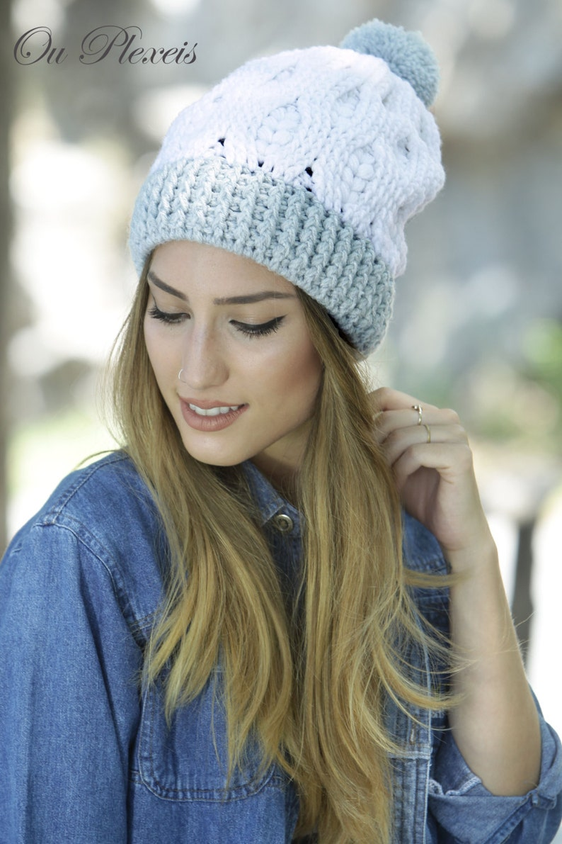 50d208667 Womens Slouchy Hat in White and Light Grey, Pom pom Beanie, Slouchy Braided  Hat, Warm Beanie, Winter Hat, Womens Chunky Hat,