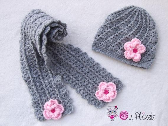 diventa nuovo eccezionale gamma di stili e colori vendita a buon mercato nel Regno Unito Uncinetto bambino bambina set cappello e sciarpa, sciarpa e berretto fatto  a mano, crochet grigio infante impostato con i fiori