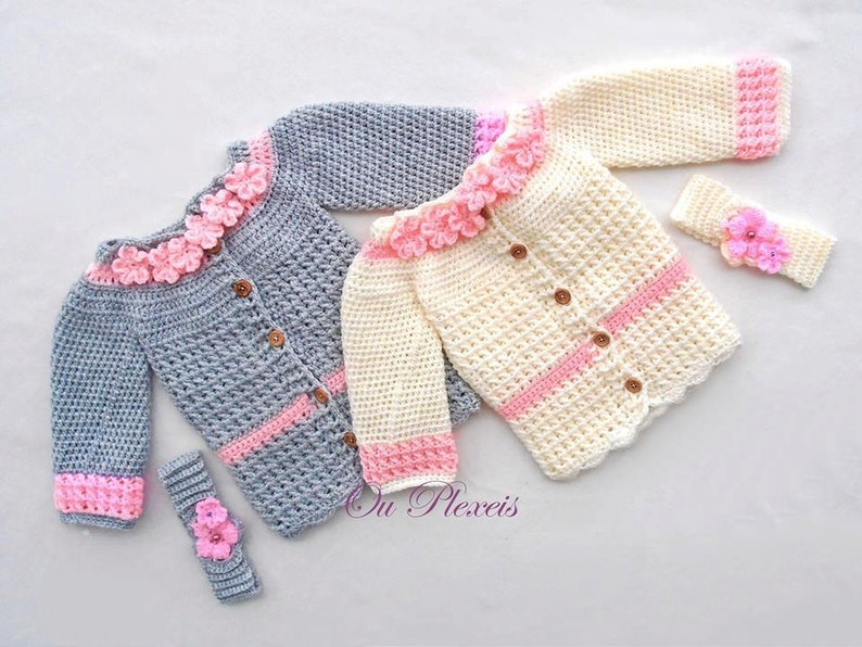 09dc4ebcc8f Crochet baby girl cardigan baby sweater crochet baby girl