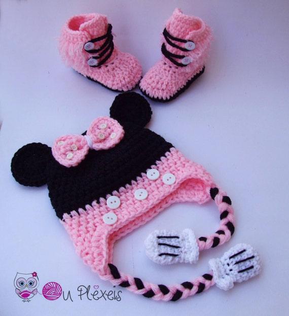 Häkeln Sie Minnie Mouse Set Mütze Booties Minnie Mouse Mütze Etsy