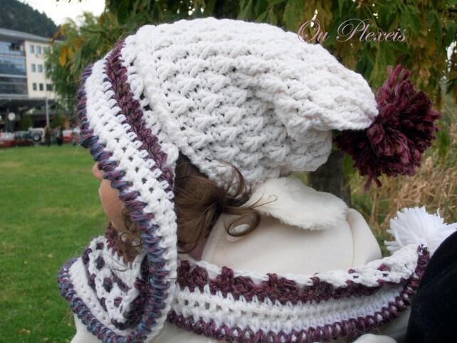 Häkeln Baby Mädchen slouchy Hut mit Schal slouchy Hut häkeln   Etsy