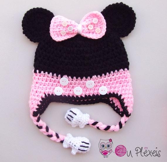 Häkeln Sie Minnie Mouse Set Mütze Schal Minnie Mouse Beanie Etsy