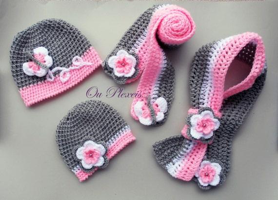 Set Mütze Und Schal Häkeln Häkeln Baby Mädchen Mütze Und Etsy