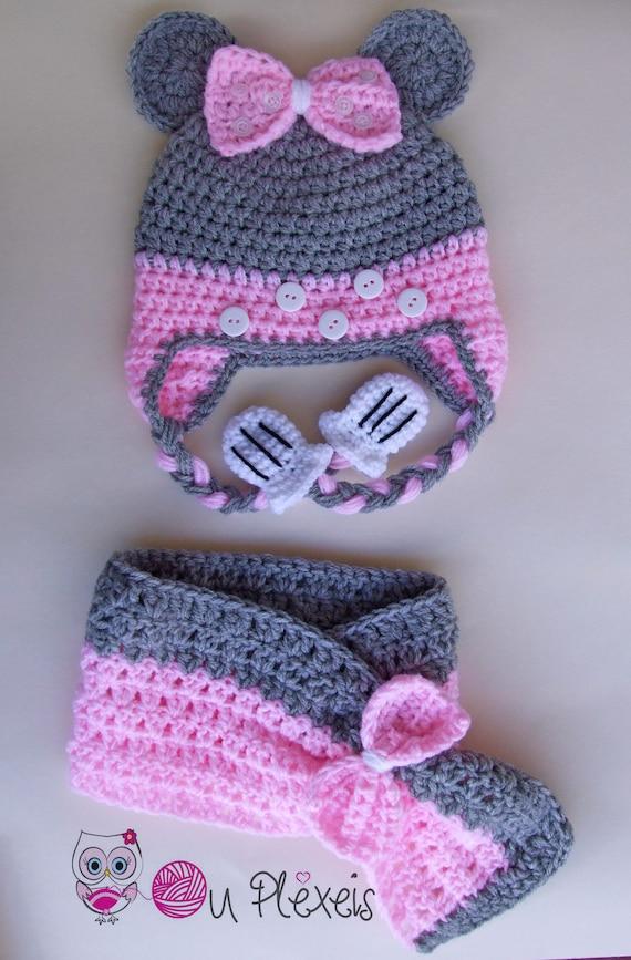 para ni/ña Minnie Set de bufanda gorro y guantes