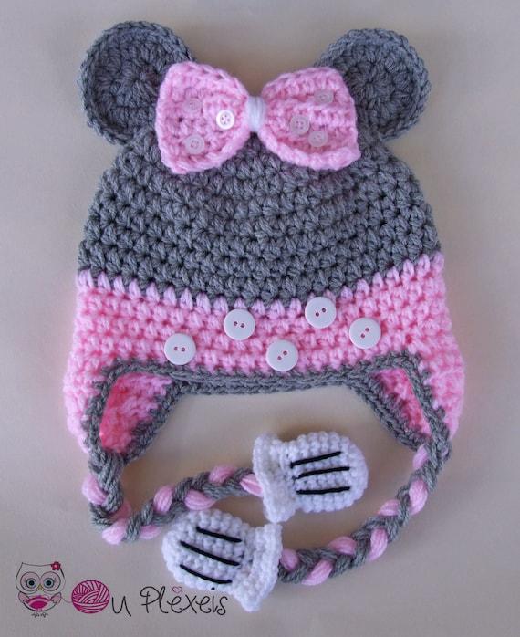 Häkeln Hut Minnie Mouse Minnie Mouse Mütze Mädchen Mütze Etsy