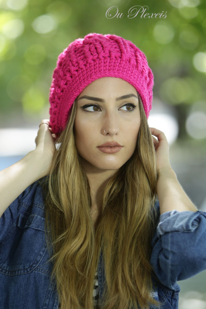 c84e260c0 Womens Beanie in Bright Pink, Crochet Braided Hat, Warm Wool Beanie,  Handmade Womens Hat, Womens Chunky Hat, Woman Knit Hat, Cable Style Hat