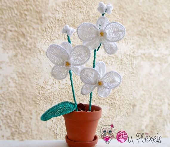 Orchidees A La Main Au Crochet Blanc Et Violet Orchidee Etsy