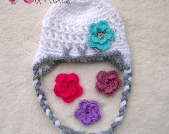 crochet hat, crochet baby hat, baby beanie, girl hat, toddler hat. white and grey hat, flowers