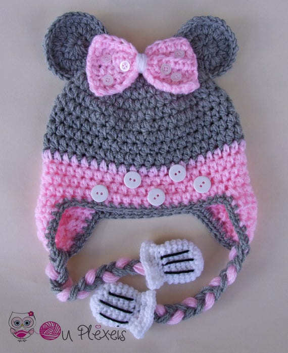 Minnie Mouse Set mützenschal, Minnie Mouse Mütze und Schal häkeln, Kleinkind Häkelmütze, Minnie Satz, Tier Häkelmütze, handgefertigte Mädchen Mütze