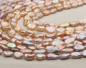 """Real 17/"""" 14mm baroque baby pink Lavender reborn keshi pearl necklace"""