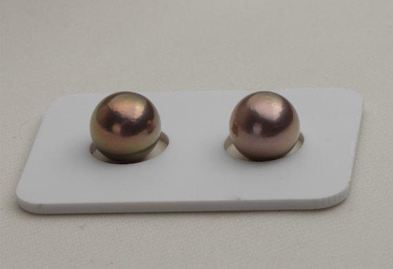 10.8mm naturel Edison verdâtre paire perle, métallique naturel couleur couleur couleur nucléaire Pearl lâche ne paire aucun trou, perle d'eau douce, nacre véritable, EDPP002 aed2ec