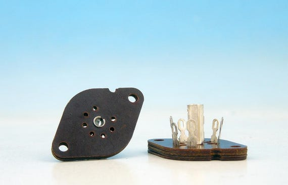 2x 7 pin SOVIET Textolite  Bakelite Silver Pin Tube Sockets Miniature B7G base for EL95 STV8510 OG3 Military HiFi Audio Amps Guitar