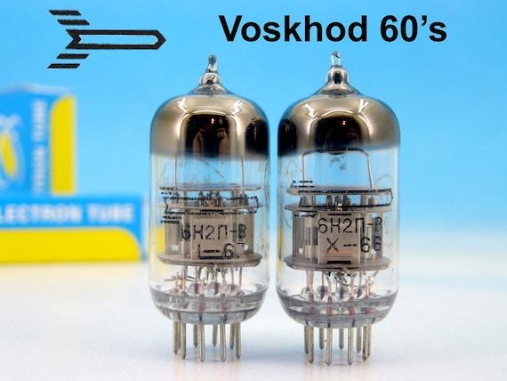 2x PREMIUM 6N2P-V 6Н2П-В Voskhod Kaluga BLACK Label 1966 Electrically  Matched Double Triode Hi-Fi Audiophile Audio Tube Pair ~ 12AX7 ECC83