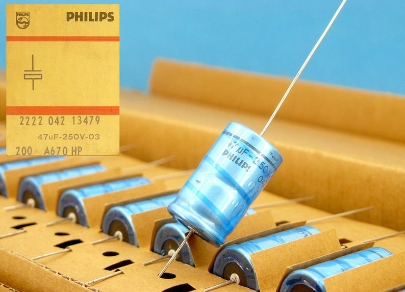2x MATCHED 47uF 250V PHILIPS Electrolytic Axial 2222-042-13479 Vintage Hi-End Audio Guitar Filter Capacitors