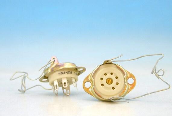2x 7 pin SOVIET Textolite Bakelite Silver Tube Socket B7G base EL95 STV85//10 OG3