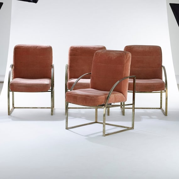Set of four brass upholstered Milo Baughman for Thayer Coggin chairs