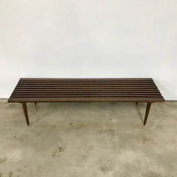 Fabulous Vintage Danish Modern Wood Slat Bench Or Coffee Table Creativecarmelina Interior Chair Design Creativecarmelinacom