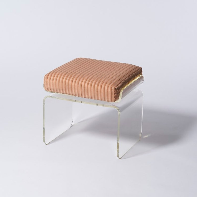 Pleasant Swivel Acrylic Lucite Waterfall Vanity Stool With Upholstered Cushion By Charles Hollis Jones Machost Co Dining Chair Design Ideas Machostcouk
