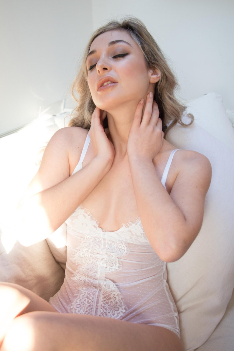 ab31f3de449 LOREDANA Sheer Dots White Tulle Bodysuit Bridal see through
