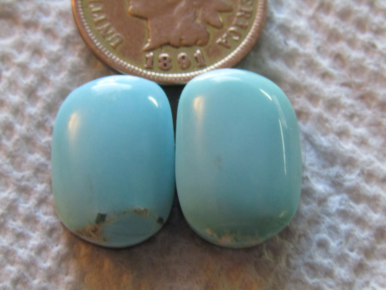 2 Campitos Turquoise Cabs 19 carats Cabochons Baby Blue Hand Cut Matching Set