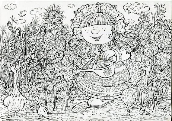 Malvorlagen Bewässerung Pflanzen kleine Mädchen im