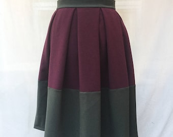 Burgundy and kaki pleated skirt - two tones pleated skirt - pleated midi skirt - pleated winter skirt - Hand made - Made in Francee