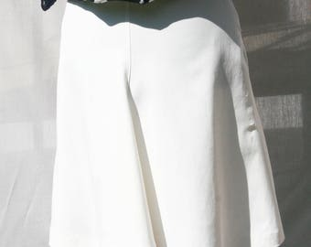 Asymmetric off white Skirt - Hand made - Made in France