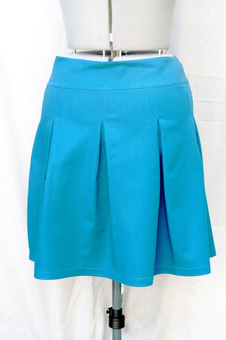 Teal blue pleated skirt Hand made Blue cotton pleated skirt Made in Paris