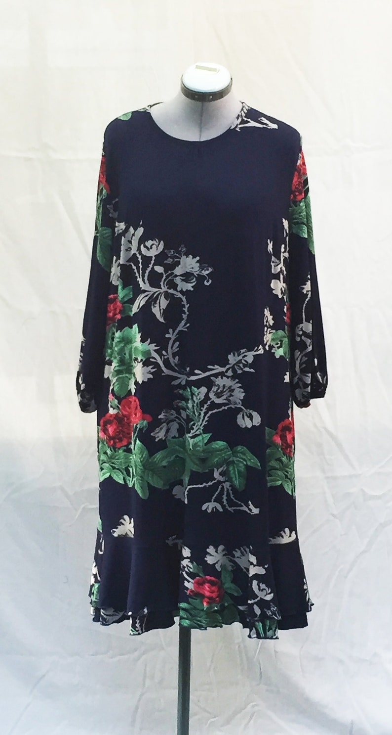Navy blue and red floral skater dress Navy blue baroque  7caa99b3b