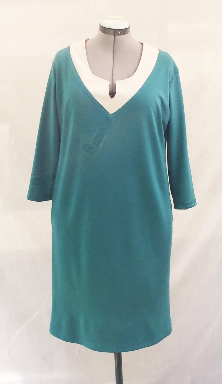 robe vert meraude bicolore en jersey milano robe tunique. Black Bedroom Furniture Sets. Home Design Ideas
