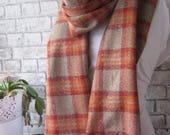 Oversized Plaid blanket scarf shawl Caramel Brown Blanket Men Scarf,men 39 s women 39 s scarf, long winter scarf, Fashion men Cool Scarf