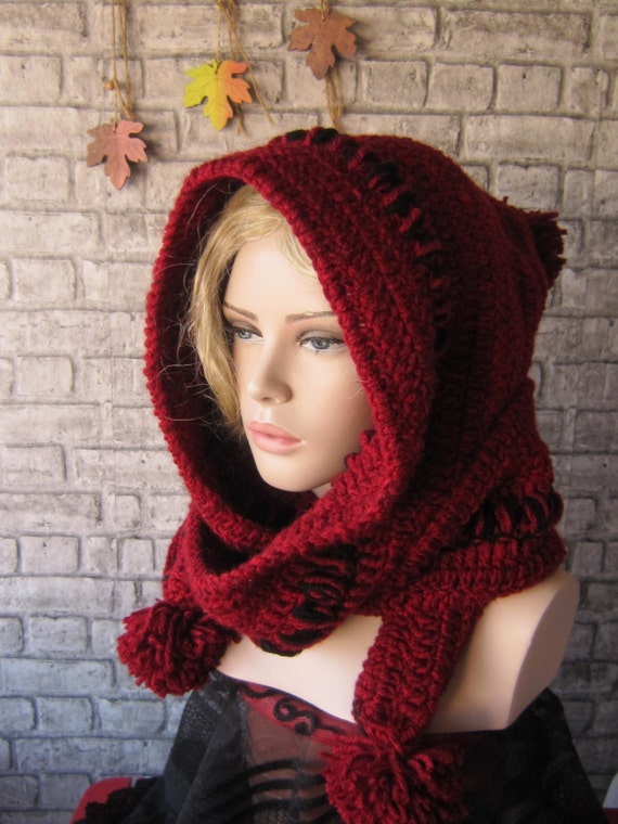 Rot Hoodded Schal / häkeln Kapuze İnfinity Hooh klobige | Etsy