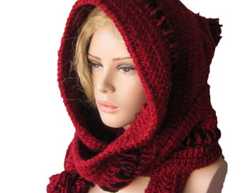 Valentine days  gift Red Hoodded scarf/ Winter crochet Hood, İnfinity hooh, chunky womens hood scarf, Winter womens accessories