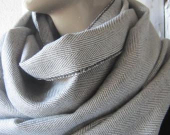 Herringbone scarf grey Infinity Men's scarf woman's and men herringbone wool scarf herringbone scarf, Wool fabric scarf tweed scarf