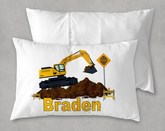 Excavator Construction Pillow Gift for Little Boy Pillowcase ONLY Construction Birthday Party Gift Personalized Digger Pillow Case