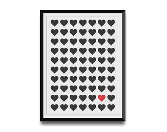 Hearts Digital Print, Instant Download Poster, Modern Pattern Design, Creative Wall Art, Love Wall Print, Customizable Print Design