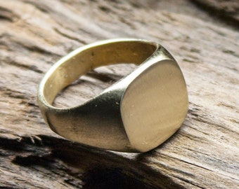 Custom Made, Men's Square Faced Brass Signet Ring, Classic Design, Handmade, Gifts for Him