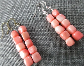 Coral Cubes Linear Earrings .
