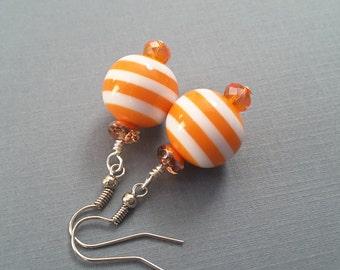 Orange Striped Earrings