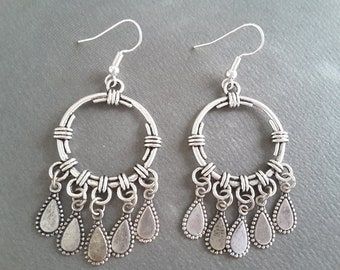 Versatile Silver Boho Drops . Earrings