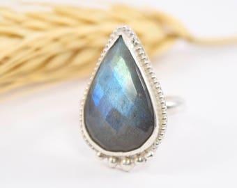Teardrop Faceted Labradorite Sterling Silver Ring - Custom Size - Blue/Green Flash Labradorite - Handmade Labradorite Ring - Natural Stone
