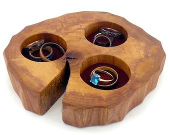 Salvaged Walnut Wood Engagement Wedding Ring Pocket Holder Box Trinket Dish Natural jewellery bowl tray Rack Earring Oblique Rustic Display