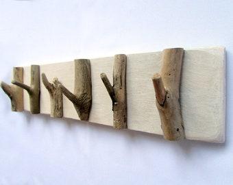 "Driftwood Hanging Rack 19"", Rustic Towel Rack, Wooden Key Holder, Coat rack, Entrance Space Organiser, Driftwood Art, Wall Decor"