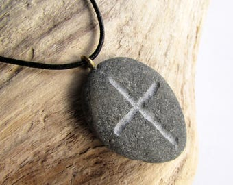Gray Stone Cross Necklace, Engraved Beach Pebble Pendant, Christian Cross Symbol Necklace, Stone Engraving, Mens Jewelry, Grey Stone Pendant