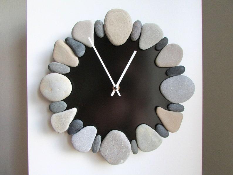 Sea Stone Clock 11 Natural Stone Clock Beach Pebble image 0