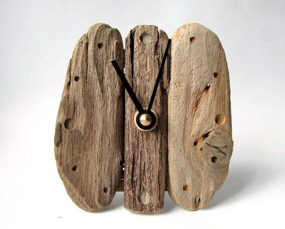 Bois flotté horloge horloge de bureau bois rustique mini