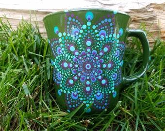 Green teal periwinkle plum  mandala ceramic mug, mandala ceramic mug, mandala mug, dot art mandala mug, Mandala mugs, Mandala mug
