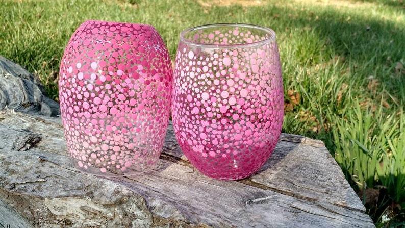Pink Acrylic Stemless Wine Glasses Set